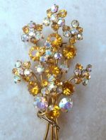 Vintage Layered Floral Brooch With Citrine Rhinestones.